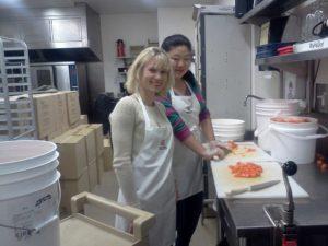 Preparing lunch at Belkin House
